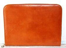 Vtg 75x10 Smooth Tan Brown Leather Planner Portfolio Paper Id Holder Zipper