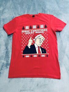 Mens-Make-Christmas-Great-Again-Trump-Funny-Ugly-Xmas-T-shirt-Red