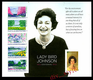 2012-Lady-Bird-Johnson-Souvenir-Sheet-No-Diecuts-Imperf-Scott-4716g