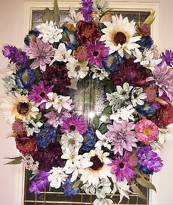 "Autumn Summer Floral Door WREATH DIVA ""Rustic Fall"" Purple Blue Mystical Harmony"