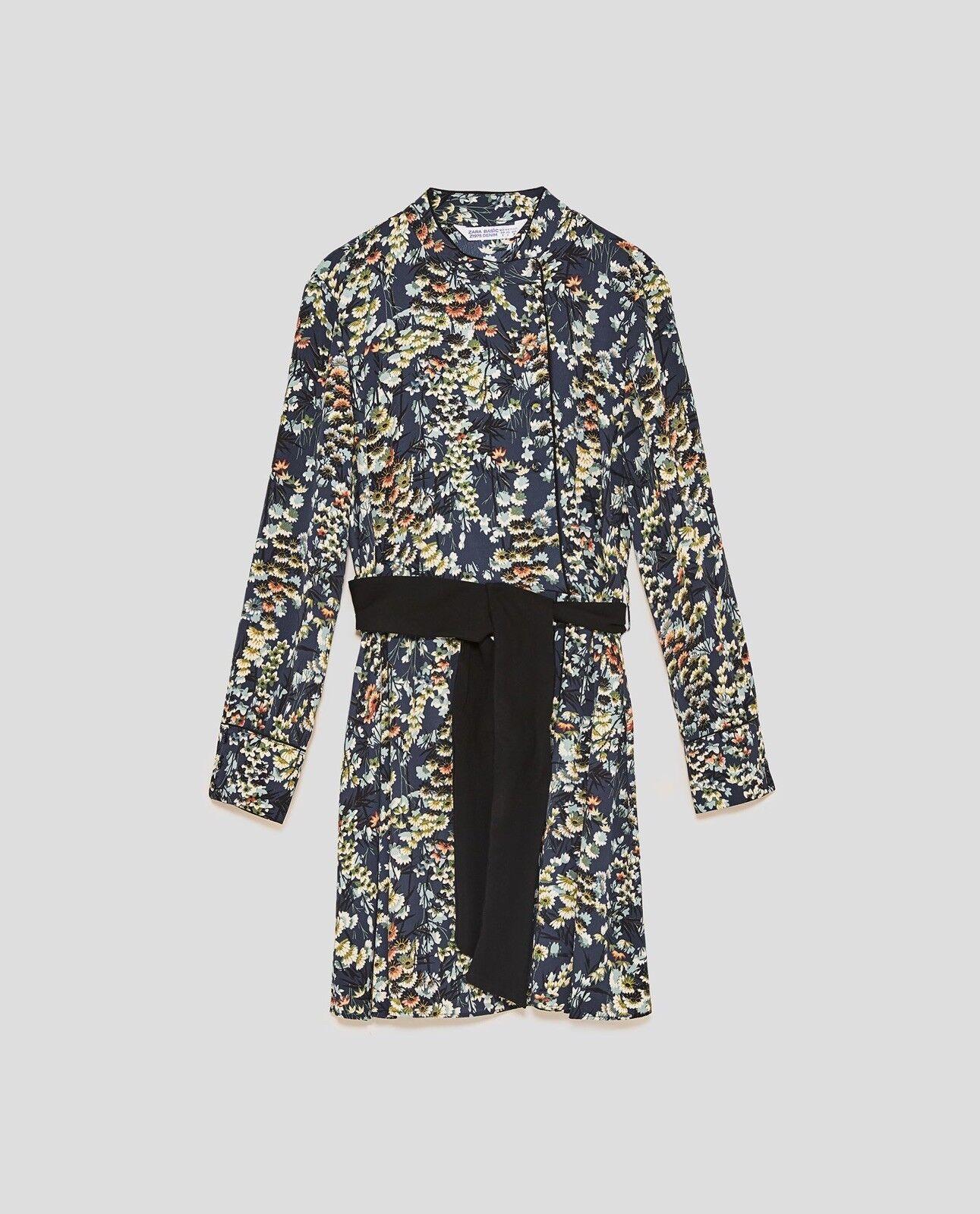 Zara damen Floral Dress With Contrasting Print Größe M NWT