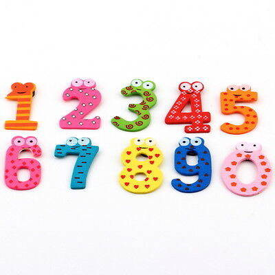 Gift Set 10 Number Wooden Fridge Magnet Education Learn Cute Kid Baby Toy TR