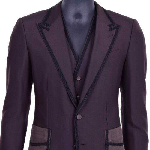 Dolce Braun Sicilia amp; Gabbana Anzug Blazer Stickerei Sakko 3 Weste Teile 06902 AxAUEvw