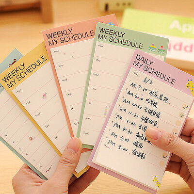 5Pcs Newly Cartoon Plan Schedule Check Stick Bookmark Pads Sticky Notes