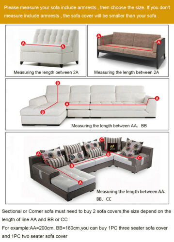 Sofa Cover Stretch Elastic Fabric Sectional Corner Couch Slipcover 1-4 Seaters