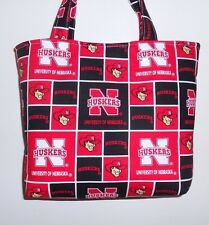 Handmade Red & Black University of Nebraska Huskers Tote Purse Bag