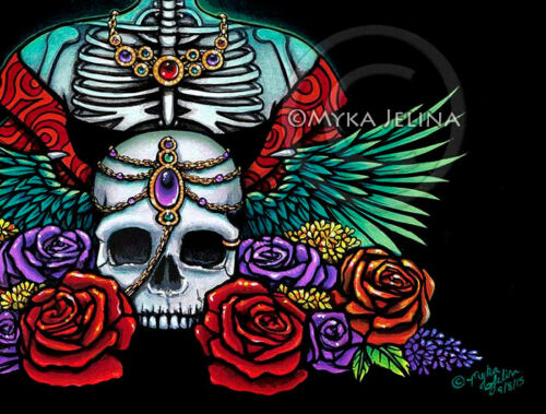 Dia De Muertos Festival Sugar Skull Calaca Myka Jelina 13x19 inch Print Signed