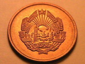 1956-ROMANIA-5-Bani-Lustrous-Ch-BU-Scarce-Romanian-Five-Bani-Uncirculated-Coin