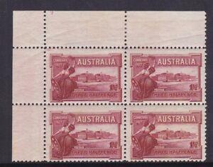 APD553-Australia-1927-1-d-Canberra-Plate-No-9-mint-top-left-corner-block-of-4