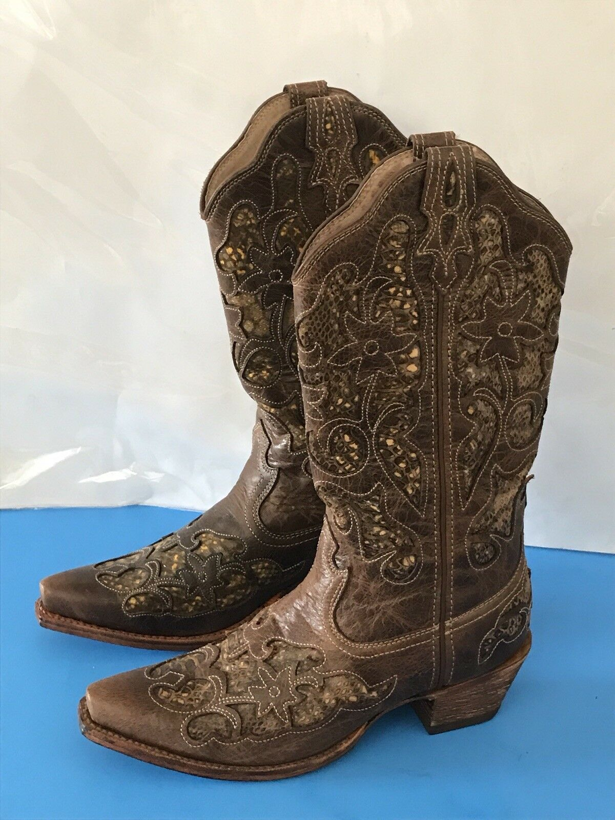 Twisted X Women's Snip Toe Cowboy Boots with Python Inlay