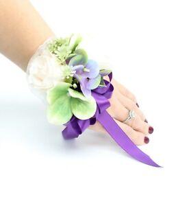 Wrist-Corsage-Purple-green-prom-wedding-homecoming-dance-artificial-flower
