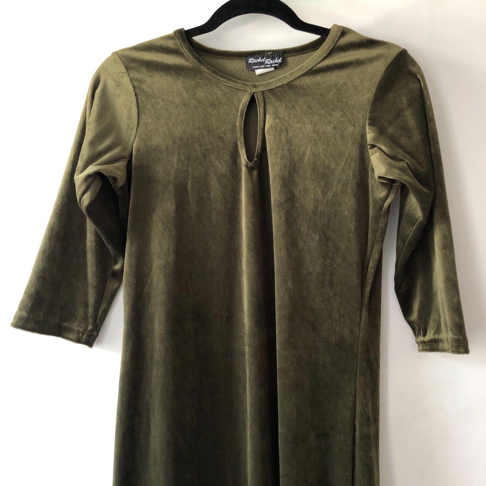 Vintage 90s velvet olive green maxi dress medium - image 2