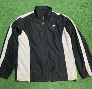 Vtg-90s-Nike-Team-Black-Swoosh-Full-Zip-Track-Mens-Jacket-Size-Large-Windbreaker