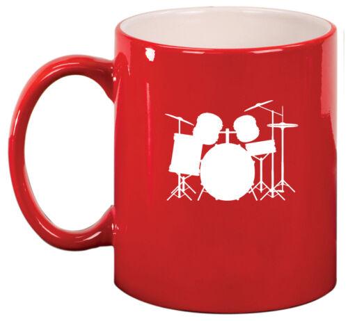 11oz Ceramic Coffee Tea Mug Glass Cup Drum Set
