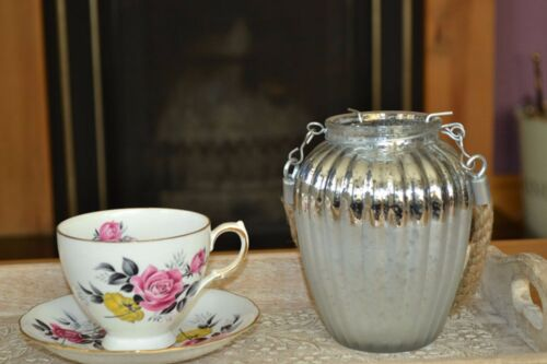 Silver Tea Light Candle Holder 14cm x 11cm Speckle Mercury Glass Fluted