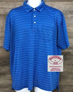 Brooks-Brothers-Performance-Men-039-s-Blue-Striped-Short-Sleeve-Golf-Polo-Shirt-L