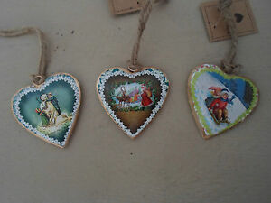 Set-of-3-Petite-Metal-Vintage-Style-Christmas-Hanging-Hearts-by-Sass-amp-Belle