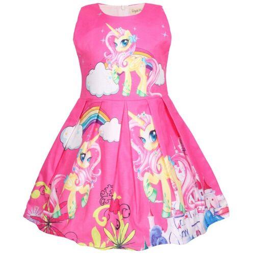 Girls Skater Dress Kids  Unicorn Print Casual Party Birthday Dresses ZG