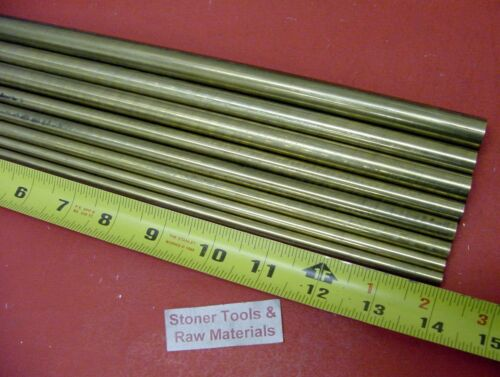"""1//4/"""" To 5//8/"""" C360 BRASS ROUND 8 Pc ASSORTMENT SOLID ROD 14/"""" long Bar Stock #4.71"""