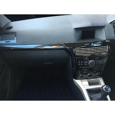 ASTRA H Mk5 VXR 5D Gloss Carbon Fibre effect dash surround trim+front strip