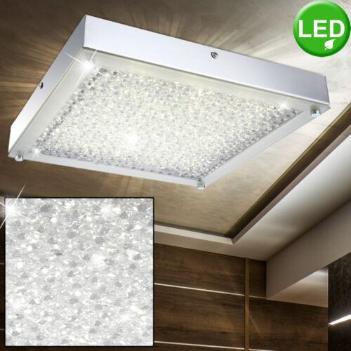 Luxus LED Decken Leuchte Wohn Ess Zimmer Glas Kristall Strahler Lampe silber