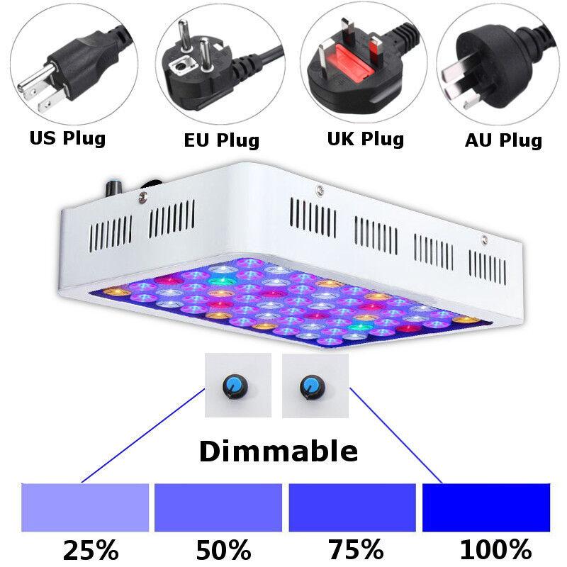 180W Dimmable Full Spectrum LED Aquarium Light Grow Fish Tank Reef Coral Lamp