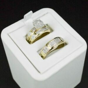 Diamond-Wedding-14K-Yellow-Gold-Fn-Trio-His-Her-Bridal-Band-Engagement-Ring-Set