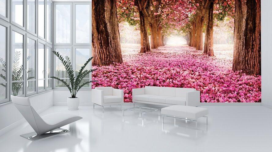 Pink trees Alley bedroom & living room paper wallpaper 368x254cm wall mural