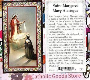 Santos-St-Margaret-Maria-Alacoque-Biografia-Adornos-Dorados-Paperstock