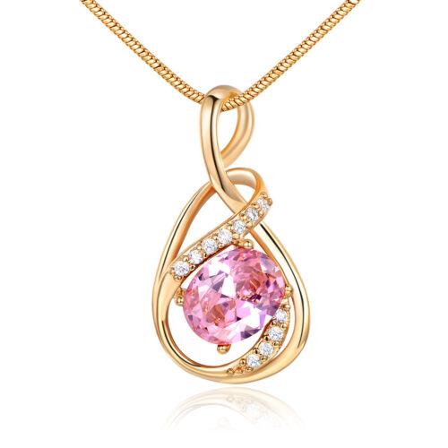Ovale Cristal Rose Ruban Poire Or Jaune Rempli Pendentif Femmes Dame Collier Box