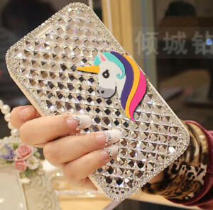 Silicone-Unicorn-Wallet-Bling-Diamond-Flip-Leather-Lady-Case-Cover-For-Nokia