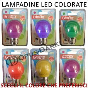 Lampada led lampadina e27 4w luce colorata colori giallo for Lampadina led blu