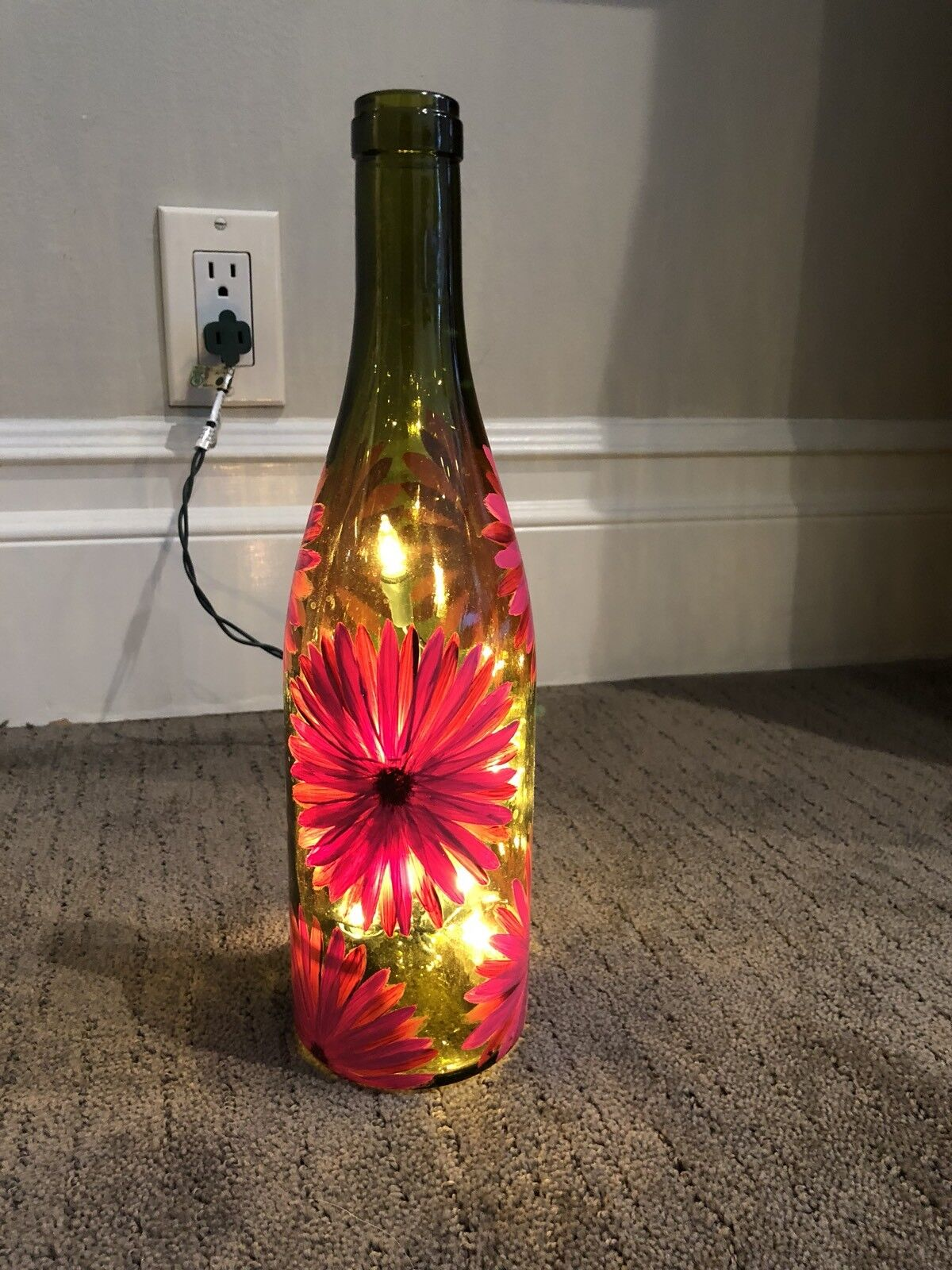Light Up Hand Painted Wine Bottle