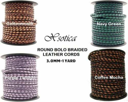 Xsotica® 3.0MM Dual Braided Bolo Leather Cords-1 Yard Leather Cord
