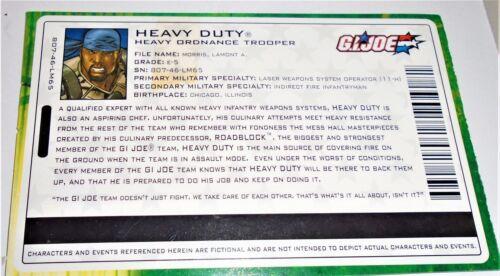 G I JOE File Card Filecard       2004 Heavy Duty V8