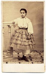 CDV Bambina con crinolina e mutandoni Foto albumina originale 1860c S1530