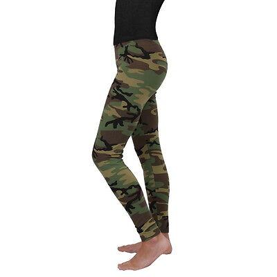 Womens Ladies Army Woodland Forest Camo Yoga Snug Leggings Pants