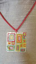 Cool Handmade White Mother of Pearl Painted Shell Pendant Necklace