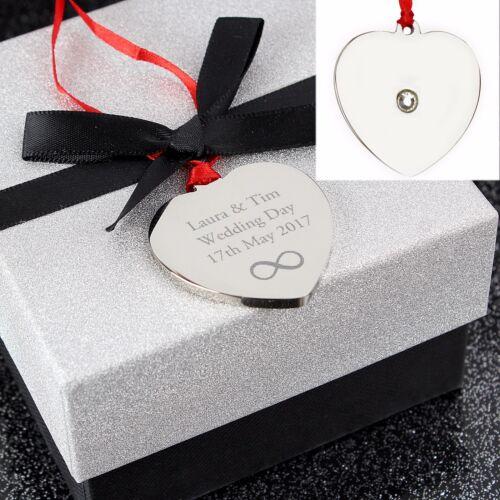 Personalised Engraved Diamante Heart Unique Gift Tag Birthdays 4 DESIGNS