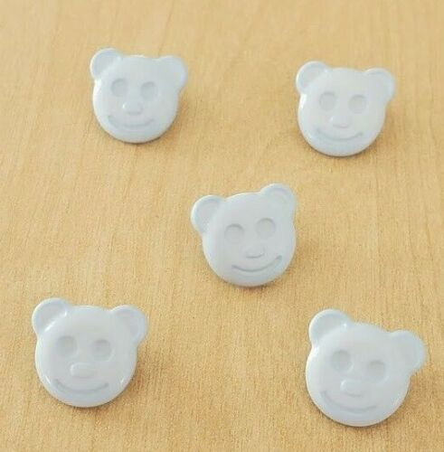 Baby Blue Teddy Bear Visage Tige Boutons Pack De 5 Taille 15 mm