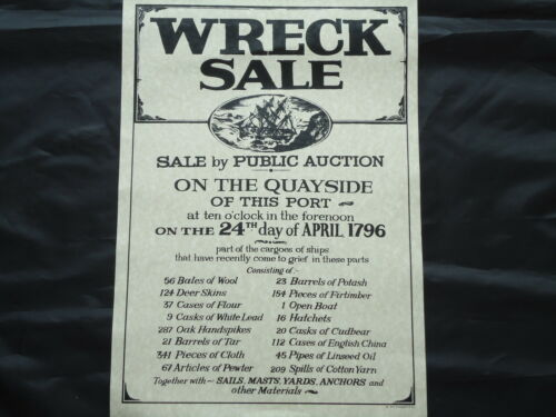 Ship Wreck Sale Poster 1796 Large Pub Picture Sign Bar Beer whiskey Gin Rum