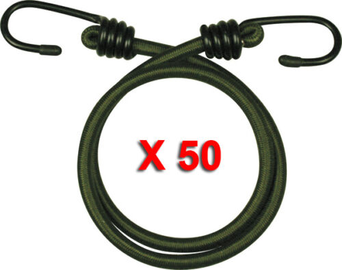 """50 PACK 12/"""" INCH ELASTIC BUNGEE 30CM BUNGEES CORDS CORD HEAVY DUTY OLIVE ROPE"""