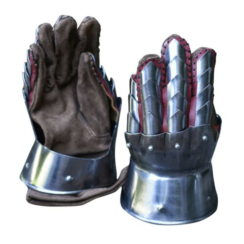 Dragon Hunter Medieval Steel Gauntlets Pair Leather Gloves Included