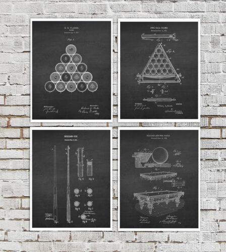 Pool Billiard Decor set of 4 Art Prints Blueprint Diagram Rec Room Decor