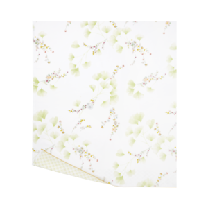 FRANCE YVES DELORME GINKGO COTTON PERCALE FLAT SHEET IN FOLIAGE PATTERN