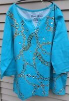 Onque 1x Womans Plus Top Turquoise Chains Shirt