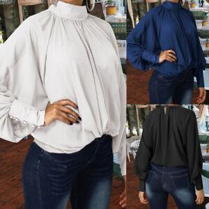 Womens-Autumn-Lantern-Sleeve-Chiffon-Blouse-Solid-Baggy-High-Neck-Shirt-Tops