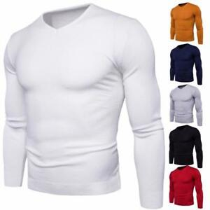 New-Men-Sweater-V-Neck-Fashion-Solid-Color-Autumn-Winter-Long-Sleeved-Sweater