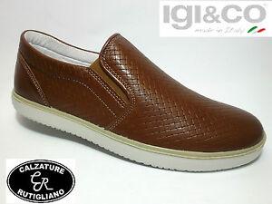 Scarpe per uomo Igi&Co in pelle intrecciata marrone sottopiede estraibile