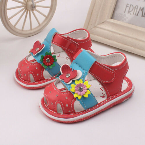 Toddler Baby New Flowers Girls Sandals With Sound Soft-Soled Girls Shoes Sandals